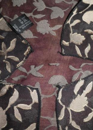 Винтажный нежный шарф основа шёлк листики вискоза 135х36см франция