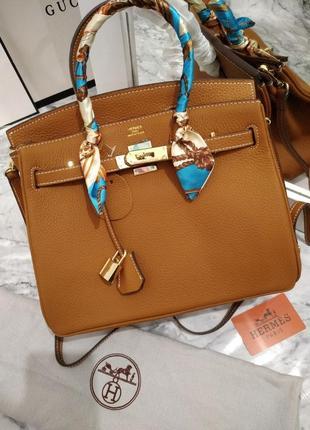 Женская кожаная сумка в стиле hermes birkin 🔥люкс качество, коричневая