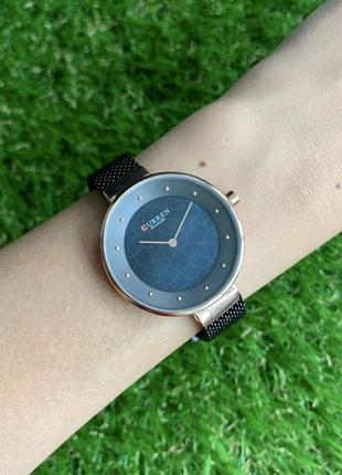 Женские наручные часы curren blanche черные с синим металлические