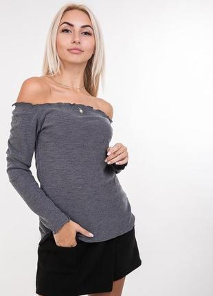 Женская трикотажная кофта цвета джинс