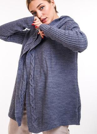 Женский вязаный кардиган с капюшоном
