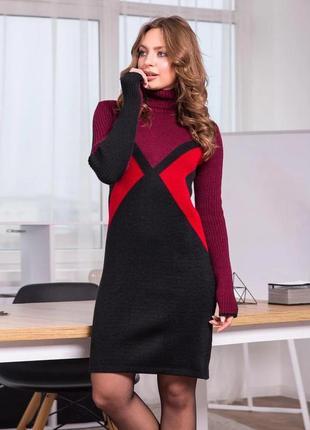 Красивое теплое платье оверсайз деловой стиль