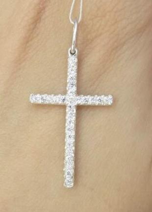 Крестик с камнями серебро 925 проба и цирконий камни