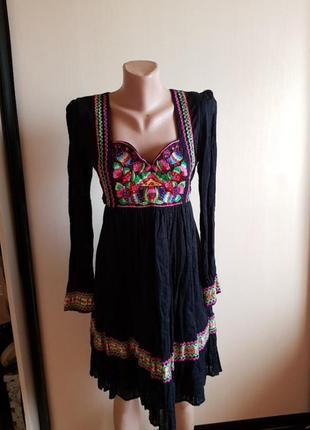 Платье стильное вышито хлопок индия