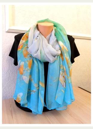 Элегантный шарф палантин шёлк бирюза