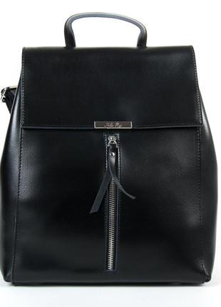 Молодежный женский сумка-рюкзак в черном цвете, натуральная кожа