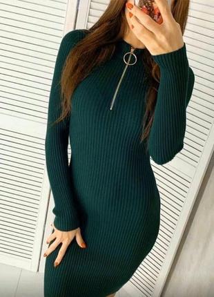 Платье кольцо рубчик с молнией ниже колен миди