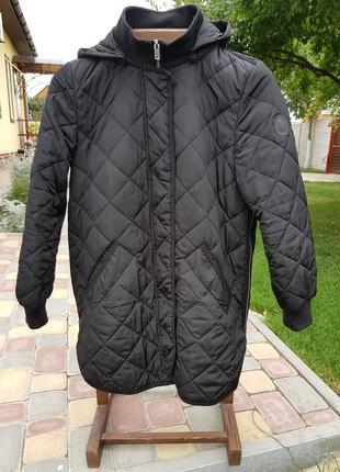 Демисезонное пальто удлиненный бомбер куртка стеганая