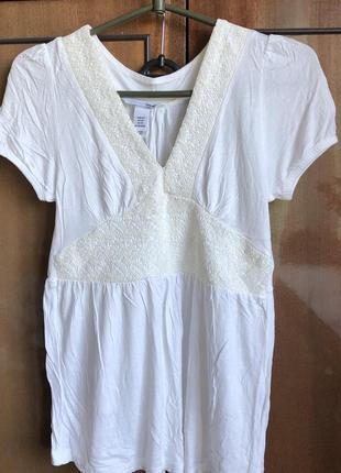 Блуза h&m белая с кремовым кружевом