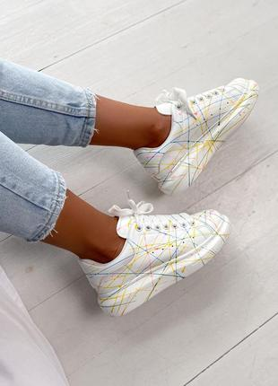 Шикарные кроссовки alexander mcqueen rainbow светящиеся в темноте кросівки кеди кеды