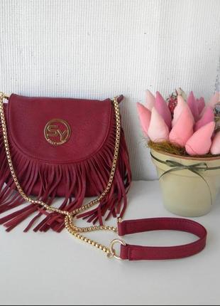 Сумка с бахромой sally young, бордовая сумка, сумочка