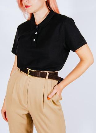 Базовая однотонная черная футболка поло, женская футболка черная