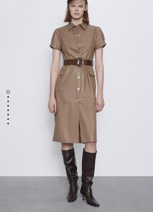 Кожаное платье миди zara