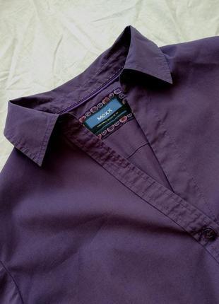 Баклажановая офисная деловая рубашка для работы для учебы mexx uk14