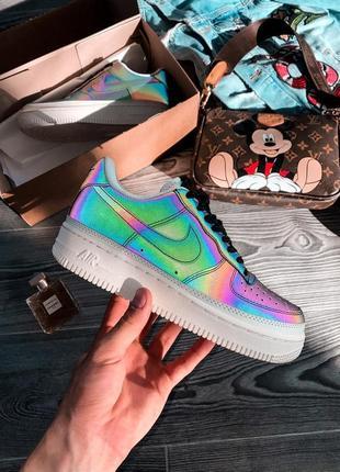 Nike air force reflective шикарные женские кожаные кроссовки 😍