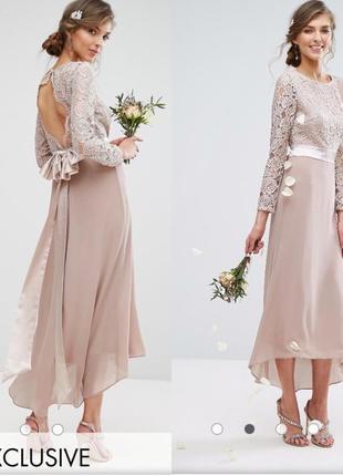 Вечернее нюдовое платье миди tfnc london с открытой спинкой подружка невесты