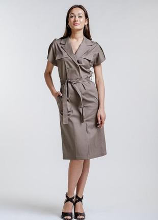 Платье-миди в офисном стиле темно-кофейное
