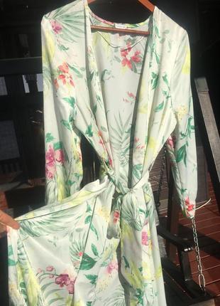 Шикарный сатиновый халат платье oysho- оригинал!
