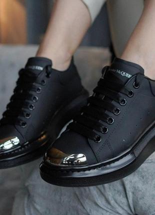 Кожаные кроссовки alexander mcqueen черный цвет (36-40)💜