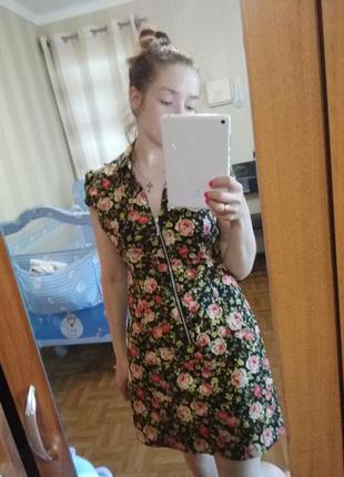 Платье с воротником, на замке, цветочный принт