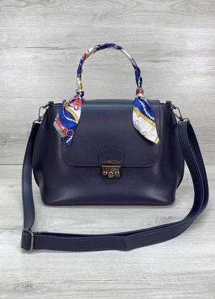 Женская небольшая синяя сумка с платком синего цвета