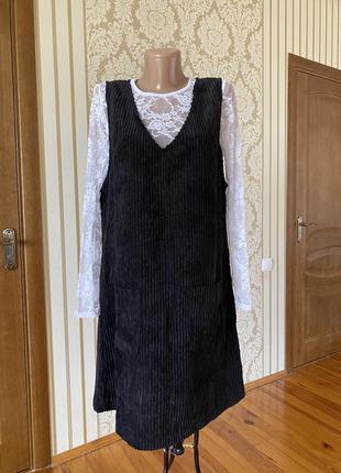 Стильный вельветовый сарафанчик платье офис с карманами  👗
