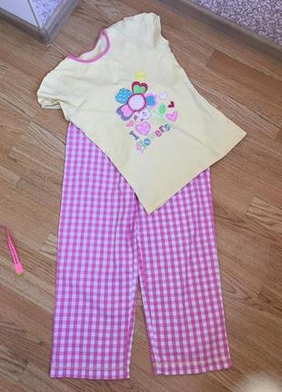 Пижама хлопковая на девочку 11-13 лет, футболка и штаны в клетку