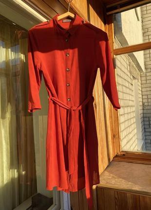 Платье рубашка кирпичное на пуговицах сукня сорочка