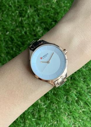 Женские наручные часы металлические curren blanche розовое золото с белым