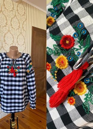 Очень стильная блузка вышиванка рубашка  из хлопка 👍