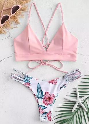 Розовый купальник пудра на шнуровке с плетением xs s m