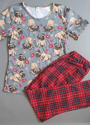 Хлопковая пижама с мопсами
