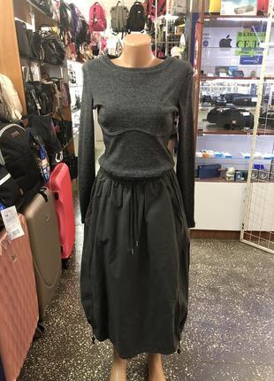 Коттоновая серого цвета юбка