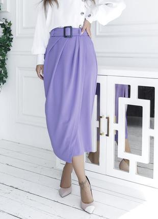 Сиреневая драпированная юбка на запах