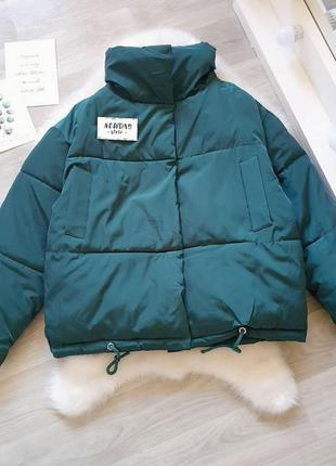 Новая женская демисезонная осенняя куртка зеленая оверсайз жіноча осіння куртка