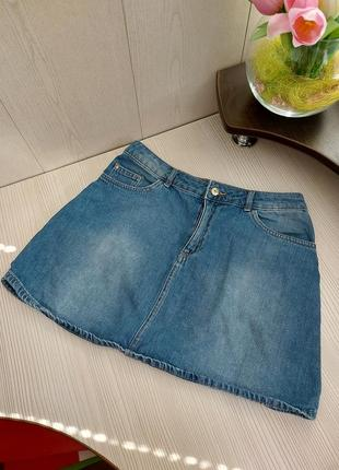 Стильная брендовая юбка джинс/джинсовая юбка мини