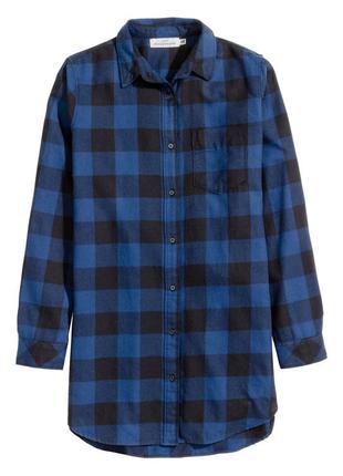 Длинная фланелевая рубашка h&m 0417853005 синего цвета