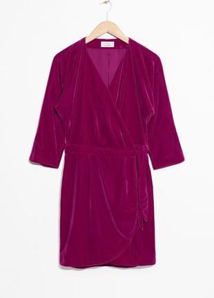 Бархатное платье с запахом other stories 0344542005 розового цвета
