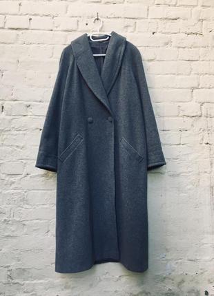 Двубортное серое шерстяное пальто макси 42р.