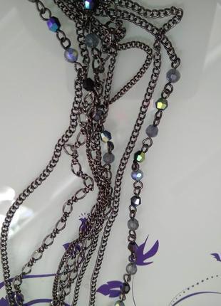 Чернёное ожерелье из цепочек и переливающихся бусинок/украшение на шею/бижутерия