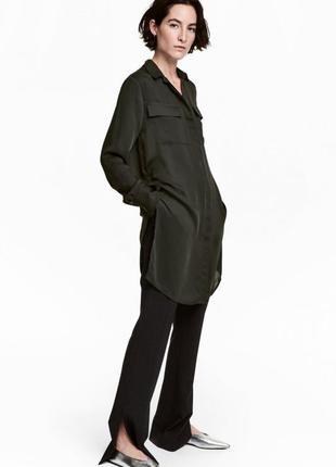 Блузка с длинным рукавом h&m 0478125002 хаки цвета