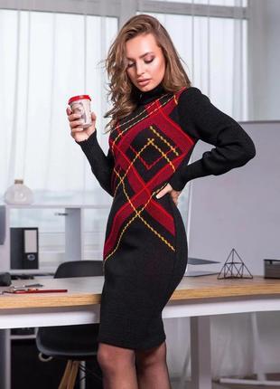 Новинка! черное вязаное платье в клетку оверсайз