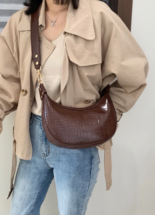 Сумка сумочка седло под винтаж с широким ремнем новая коричневая
