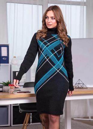 Черное вязаное платье оверсайз в бирюзовую клеточку