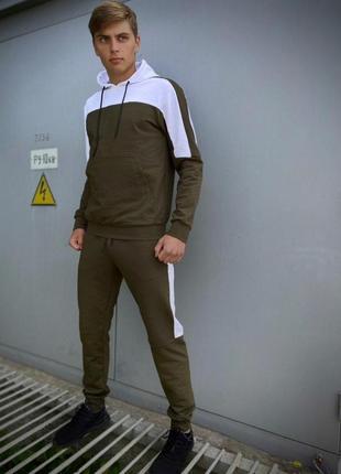 Мужской спортивный костюм  хаки-белый spirited intruder + подарок ключница