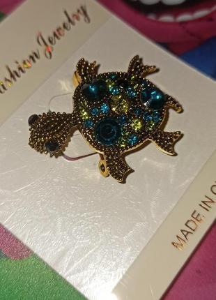 Шикарна якісна брошка черепаха, блиск 50 грн