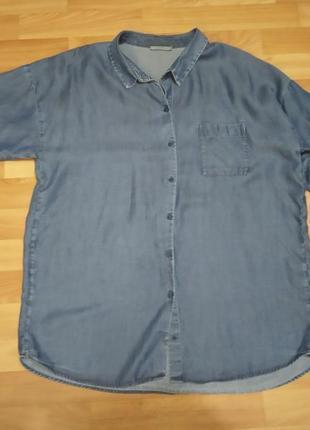 Джинс джинсовая как полированный лен льняная рубашка бойфренд оверсайз из лиоцела, тенсела