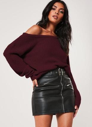 Нереально красивый и стильный вязаный свитерок-оверсайз цвета марсала.