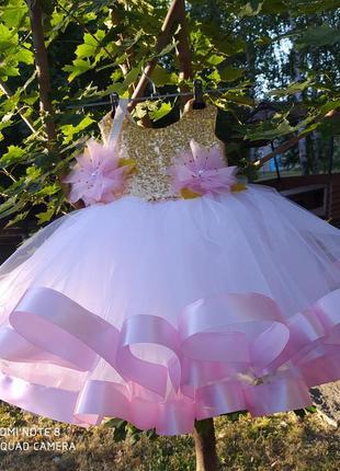 Платье на годик 1 один год день рождения нарядное бальное м лэнтой фатиновое белое