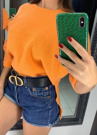 👚тёплый оранжевый свитер шерсть/шерстяной ярко оранжевый вязаный свитер осень-зима👚